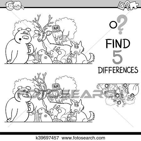 Clip Art - diferencias, actividad, libro colorear k39697457 - Buscar ...