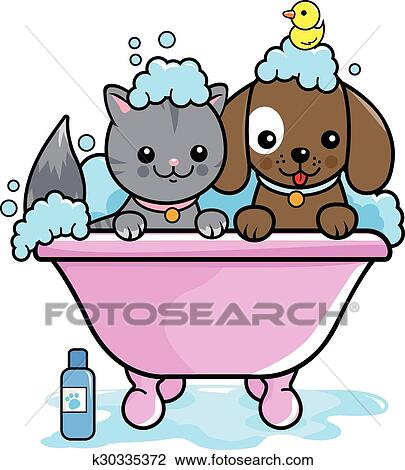 clipart of dog and cat taking a bath k30335372 search clip art rh fotosearch com Bathtub with Bubbles Clip Art Vintage Bathtub Clip Art