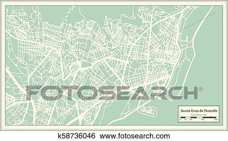 Map Of Spain Tenerife.Clip Art Of Santa Cruz De Tenerife Spain City Map In Retro Style