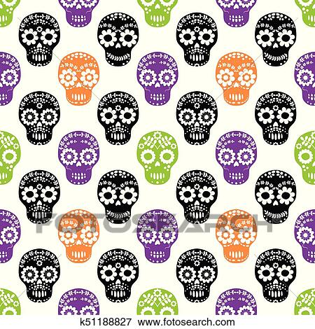 Vector Seamless Pattern With Floral Sugar Skulls In Black Purple Orange And Green Colors For Halloween Designs Clip Art K51188827 Fotosearch