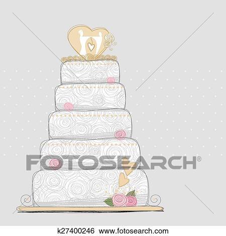 Clip Art Of Vector Wedding Cake Design K27400246 Search Clipart