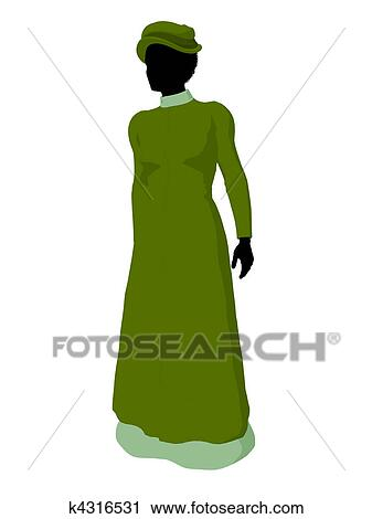 34f4c0b22c5 African american victorian woman art illustration silhouette on a white  background