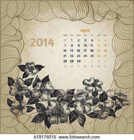 Calendario Artistico.Artistico Calendario Con Penna Inchiostro Mano Disegnato Fiore Ciliegia Per Aprile 2014 Secondo Variante Template Uno Scheda Di
