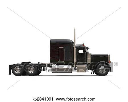 Clipart Of Black 18 Wheeler Truck No Trailer Side View K52841091