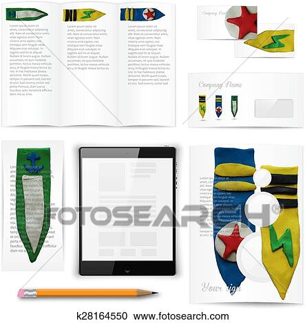Clipart of classic stationery template documentation for business classic stationery template of brochure booklet flyer with chevrons documentation for business vector illustration wajeb Gallery