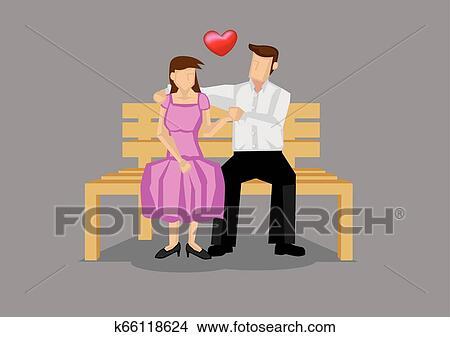 Dating Couple Intimate Moment Vector Cartoon Illustration ...