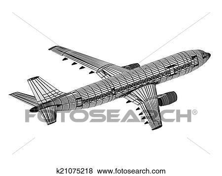 Banque d 39 illustrations dessin contour avion ligne - Dessin contour ...