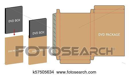 Dvd Paper Packaging Box Die Cut Line Template Clipart K57505634 Fotosearch