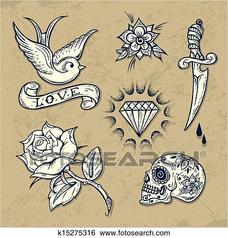 Clipart Ensemble De Vieux Ecole Tatouage Elements K15275316