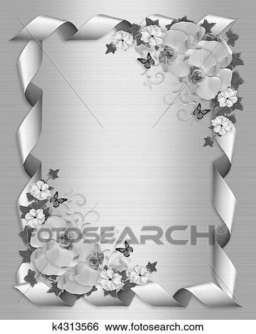 Stock Illustration Hochzeitskarten Weiss Orchideen K4313566