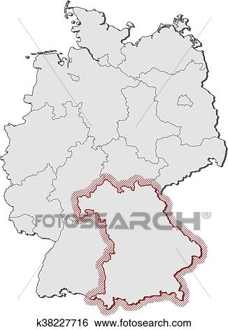 Map Of Germany Bavaria.Map Germany Bavaria Clip Art K38227716 Fotosearch