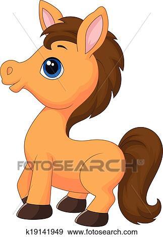 Clipart mignon cheval dessin anim k19141949 recherchez des cliparts des illustrations - Clipart cheval ...