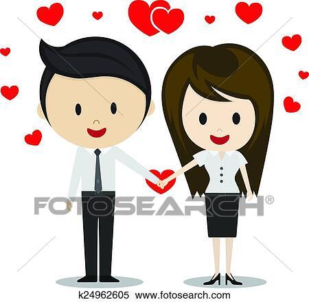 Dessin Amoureux Mignon clipart - mignon, couple, amoureux, tenant mains, dessin animé