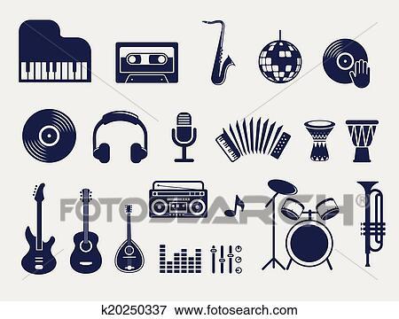 Clip Art Muzyczne Instrumenty Ikony Komplet K20250337 Szukaj