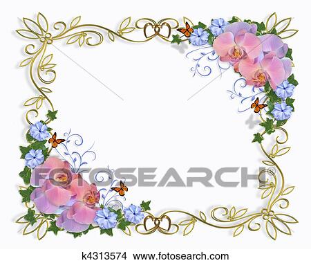 Drawings Of Orchids Border Wedding Invitation K4313574 Search Clip