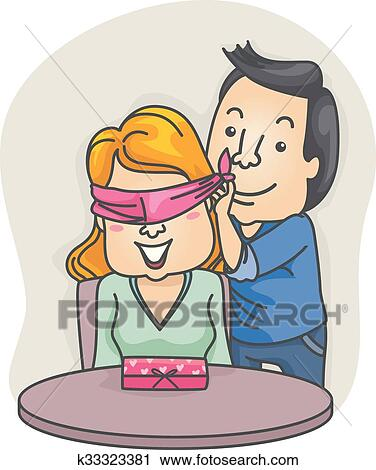 Paar Valentijn Cadeau Verrassing Geblinddoekt Vrouw