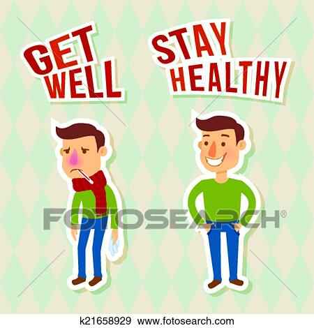Clip Art Of Sick And Healthy Characters K21658929 Search Clipart