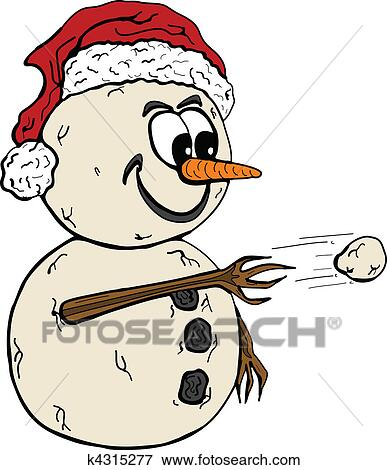 clip art of snowman throwing snowball k4315277 search clipart rh fotosearch com snowball pile clipart snowball clipart black and white