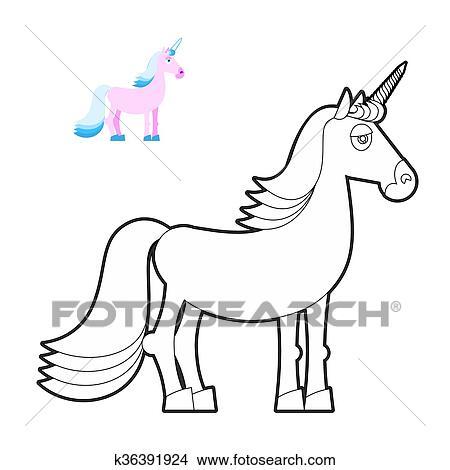 Clipart Unicorno Coloritura Book Fantastico Animale In