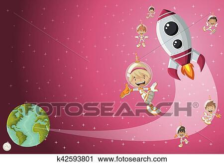 Astronauta cartone animato bambini volare in il spazio con