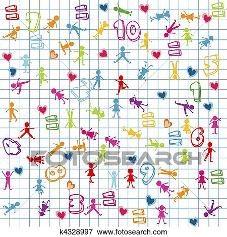 Stock Illustration Of Background With Kids And Numbers On Math Page