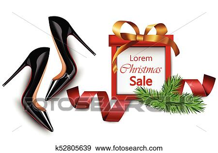 Black Stiletto Shoes Sales Vector Realistic Illustration Christmas Gift Cards Clip Art K52805639 Fotosearch