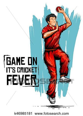 Clipart of Bowler bowling in cricket championship sports ...