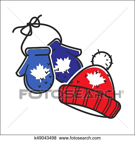clip art of canadian knitted wool hat and mittens vector isolated rh fotosearch com winter holiday clip art borders winter holiday clipart black and white