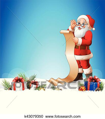 clipart of christmas background with santa claus reading a long list