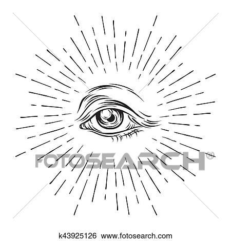 clip art of hand drawn grunge sketch eye of providence masonic