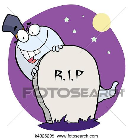 Clipart Of Happy Ghost Behind The Tombstone K4326295 Search Clip