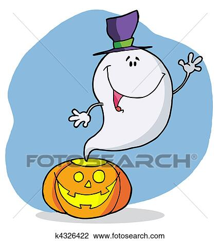 Clipart Of Happy Ghost Pumpkin Leaves K4326422 Search Clip Art