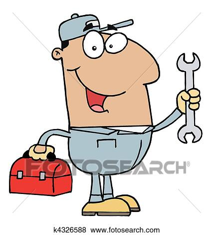 clip art of hispanic mechanic guy k4326588 search clipart rh fotosearch com hispanic culture clipart hispanic girl clipart