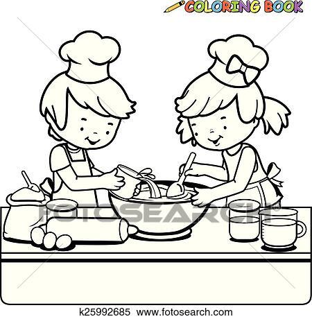 Clipart - kindern, kochende, färbung, seite k25992685 - Suche Clip ...