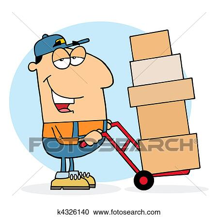 clipart of lazy delivery man k4326140 search clip art rh fotosearch com delivery clipart png clipart delivery box