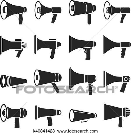 megaphone announcement loudspeaker vector icons clip art k40841428 fotosearch https www fotosearch com csp432 k40841428