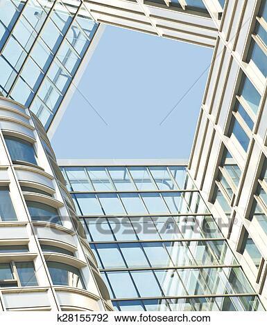 Moderno Ufficio Architectur A Vetro Blu Parete Sfondi Archivio