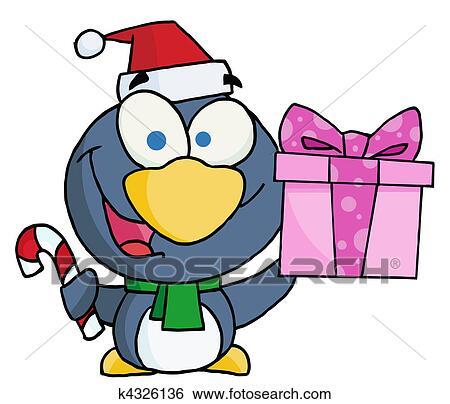 nachdenklich weihnachten pinguin clip art k4326136. Black Bedroom Furniture Sets. Home Design Ideas