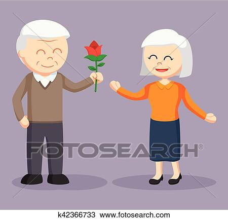 Old Man Giving Rose Flower To Old Woman Clipart K42366733 Fotosearch