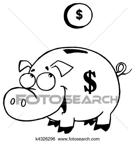Clip Art Of Outlined Coin And Piggy Bank K4326296
