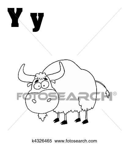 Clipart Of Outlined Yak With Letters Y K4326465 Search Clip Art
