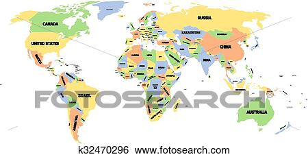 Image Map Of The World.Political Map Of World Clip Art