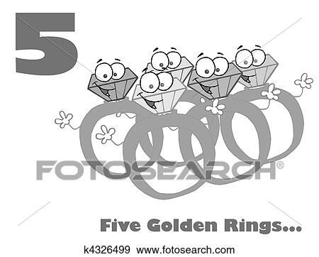 Clip Art Schwarz Weiß Zahl Fünf K4326499 Suche Clipart Poster