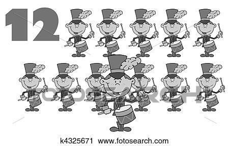 Clipart Schwarz Weiß Zahl Zwölf K4325671 Suche Clip Art