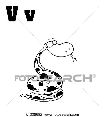 Clipart Of Snake With Letters V K4325682 Search Clip Art