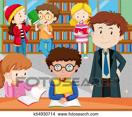 Students Reading And Studying In Library Clipart K54930714 Fotosearch