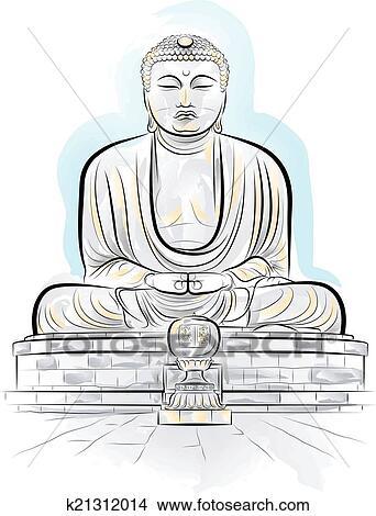 tekening, kleur, reus, boeddha, monument clipart   k21312014