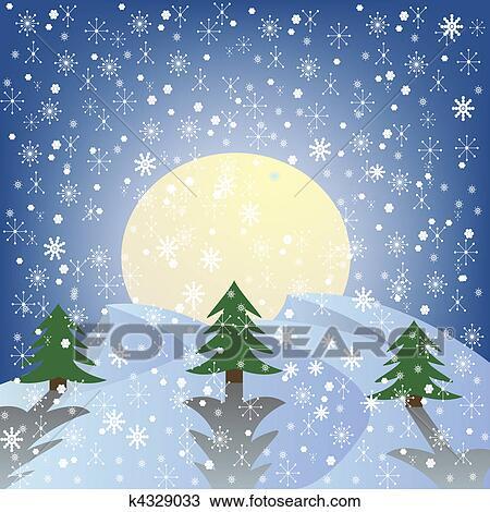 Tekening Winterlandschap K4329033 Zoek Clipart Illustratie