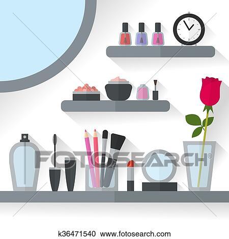 家 化粧台 内部 イラスト クリップアート切り張りイラスト絵画