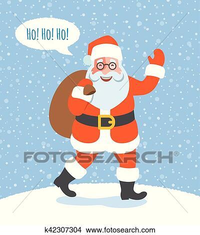 Babbo Natale Ho Ho Ho.Babbo Natale Con Regali Natale Va A Bambini Clipart